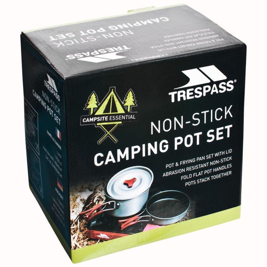 miniatuur 5 - Trespass Non Stick Camping Pot Frying Pan Set With Lid Cooking Hiking Travel Set