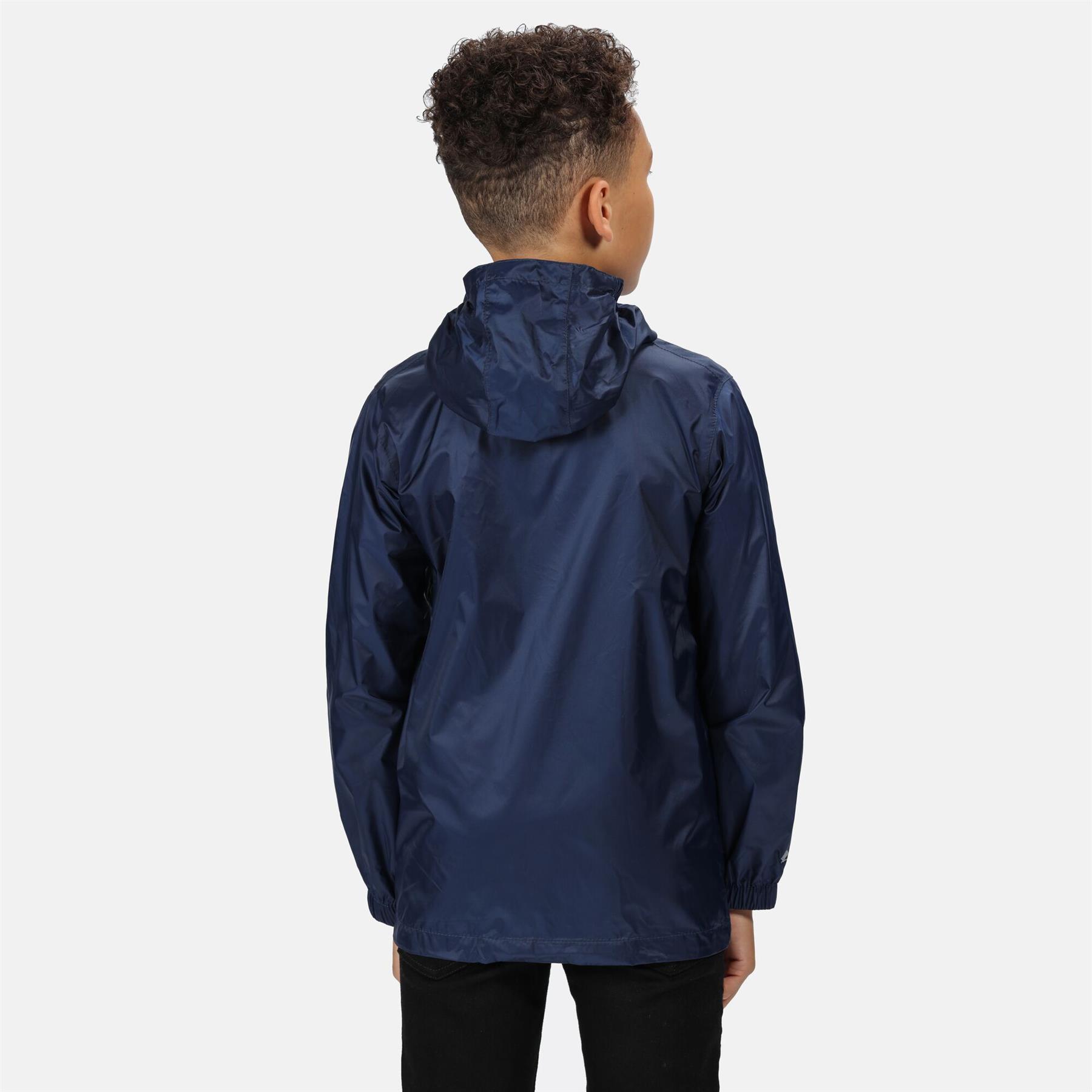 miniatuur 11 - Regatta Kids Waterproof Stormbreak Shell Jacket Hooded Rain coat Boys Girls