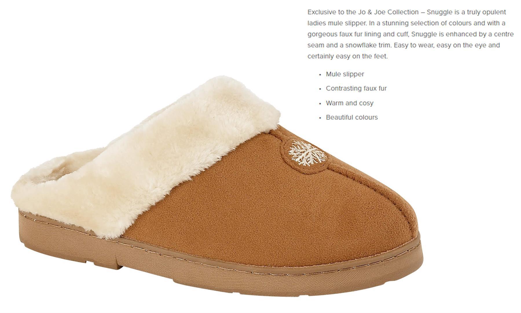 miniatuur 21 - Jo & Joe Womens Luxury Slippers Winter Warm Fur Slip On Flat Mule Bootie Girls