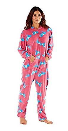 miniatuur 3 - Selena Secrets Womens All In One Horse Print Hooded Pyjama Loungewear, Nightwear