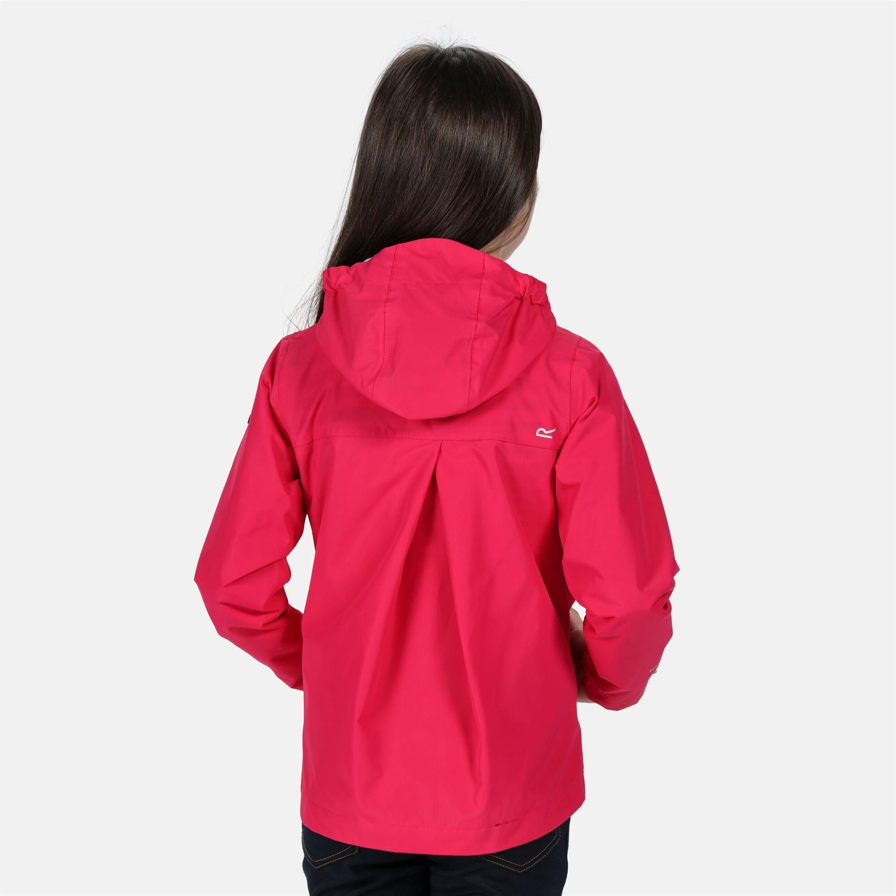 miniatuur 5 - Regatta Kids Bibiana Waterproof Hooded Zip Jacket Girls Boys Rain Coat