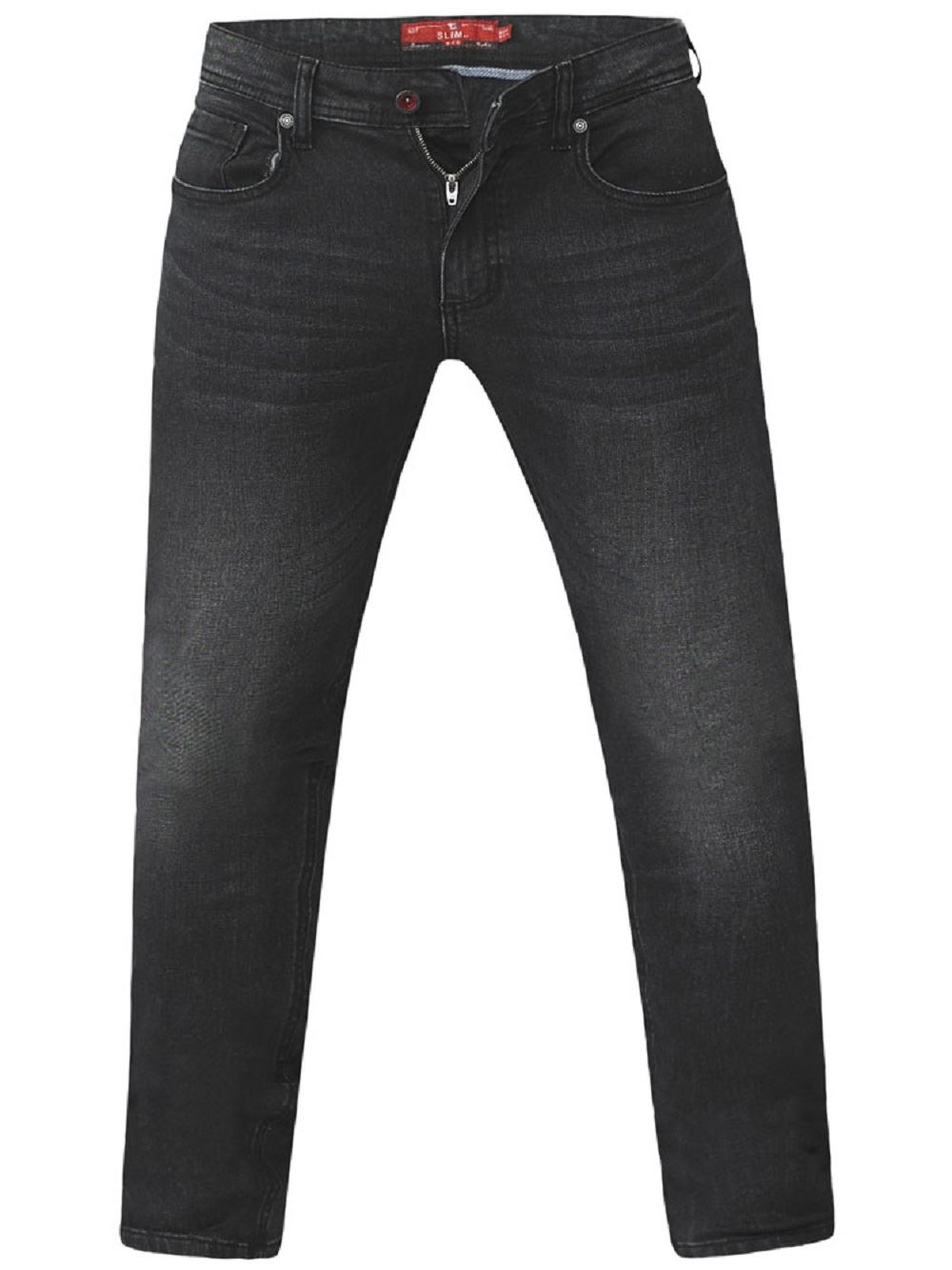 D555-Mens-Big-Size-Tapered-Fit-Stretch-Jeans-In-Grey-Stonewash-Benson thumbnail 7