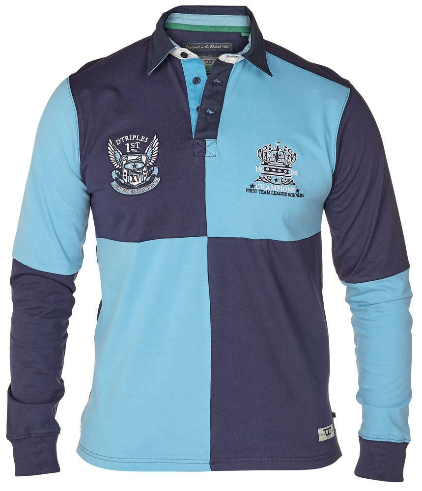 D555 Long Sleeved Rugby Shirt with Contrast Chest Panel,Size 1XL-6XL,2 Options