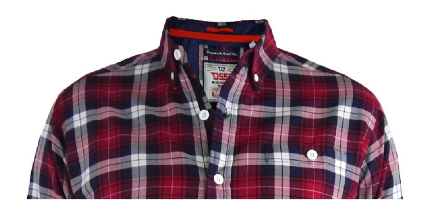 D555 Mens Big Size Long Sleeve Red Check Shirt Baltimore