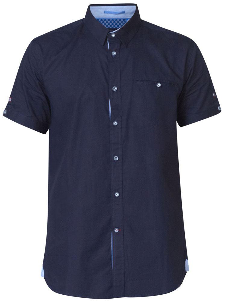 D555 Mens Exta Alto Nascosto manica corta camicia button down con taschino TIM