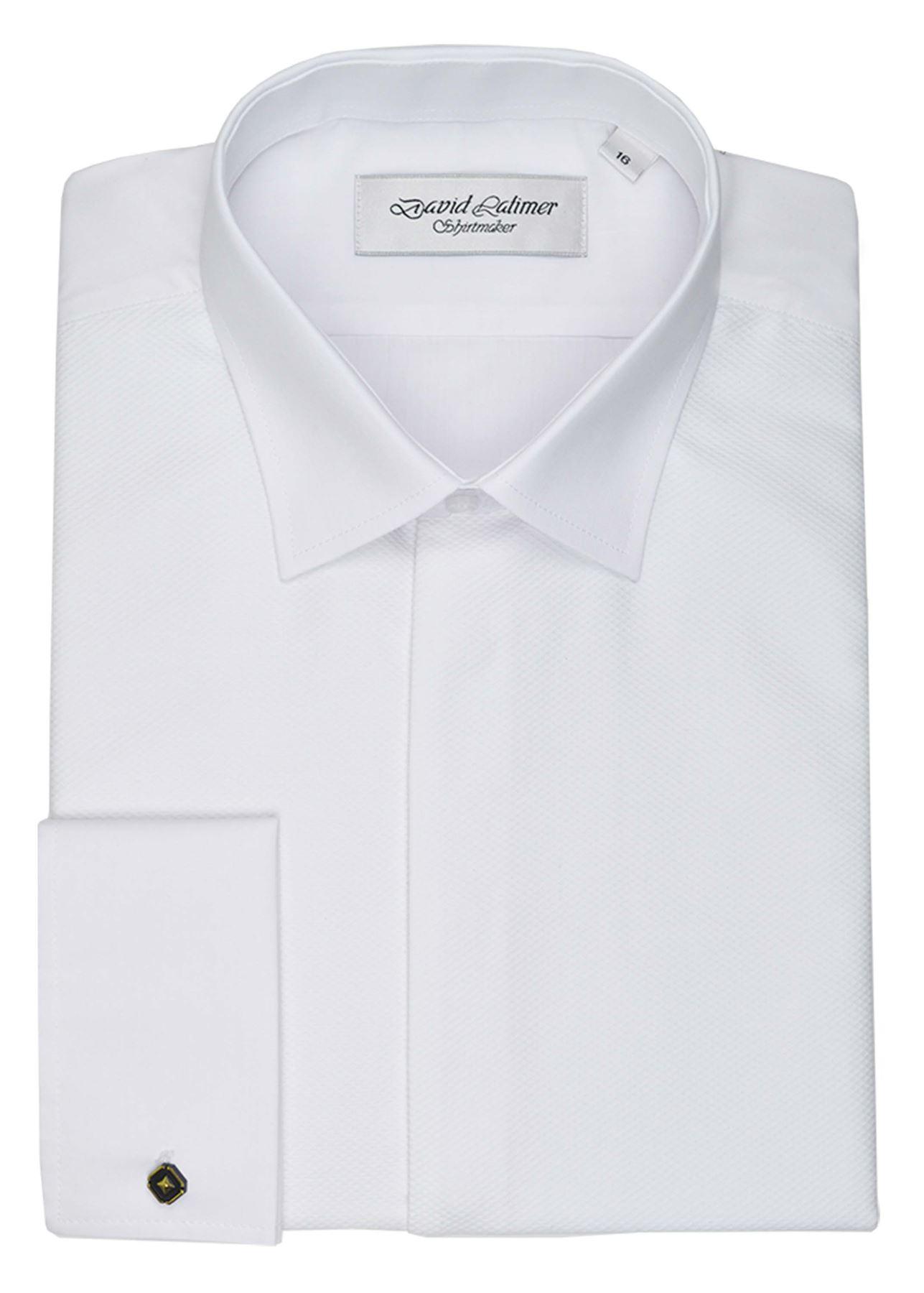 Latimer Mens Marcella mosca frontal David Camisa de vestir en blanco