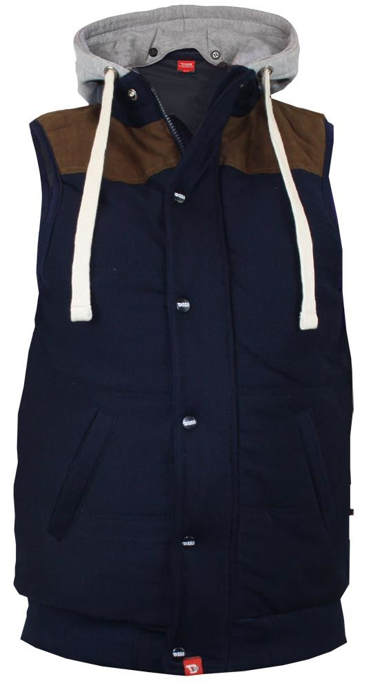 D555 QUILTED FLEECE WAISTCOAT WITH HOOD/&SUEDE SHOULDER,SIZE 1XL-6XL,2 COLORS
