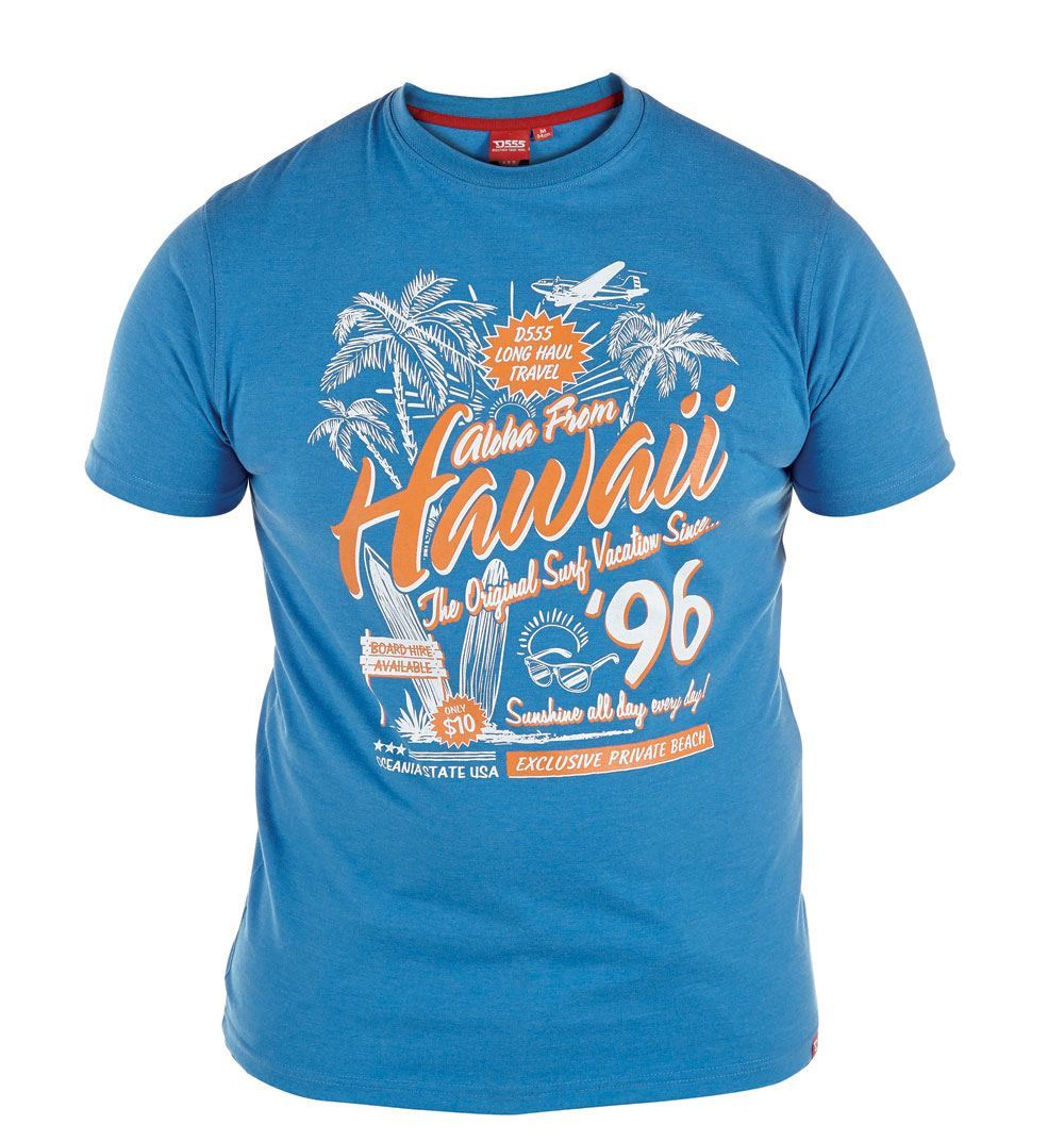 """D555 ASHLEY-/""""Hawaii 96/"""" Print Crew Neck T-Shirt in Size 2XL to 6XL 2 Options"""