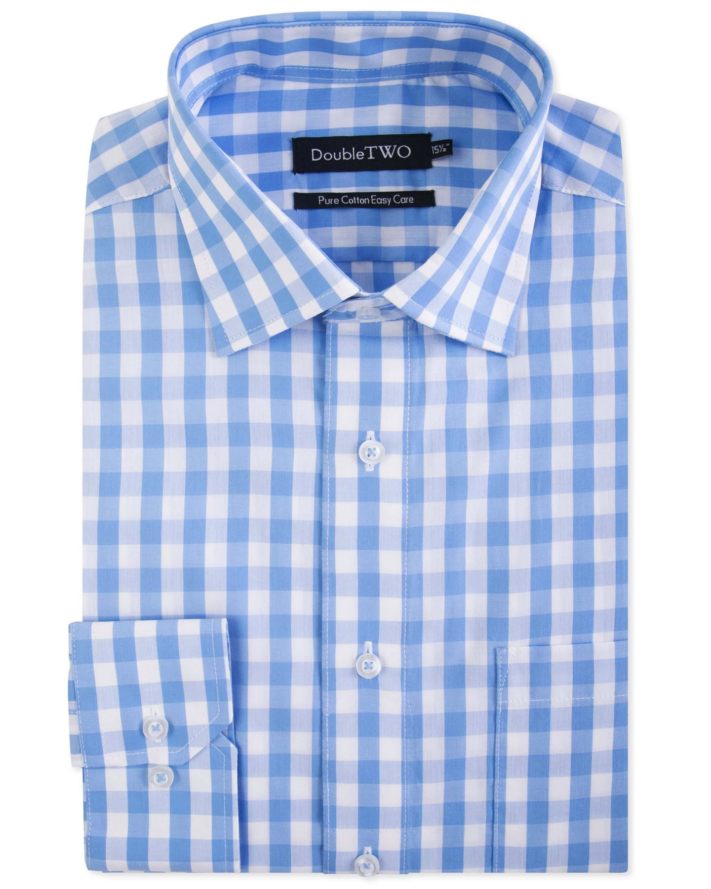 Double-Two-Mens-Cotton-Easy-Care-LS-Shirts-AW18-Collar-15-23-034-Multiple-Options thumbnail 12