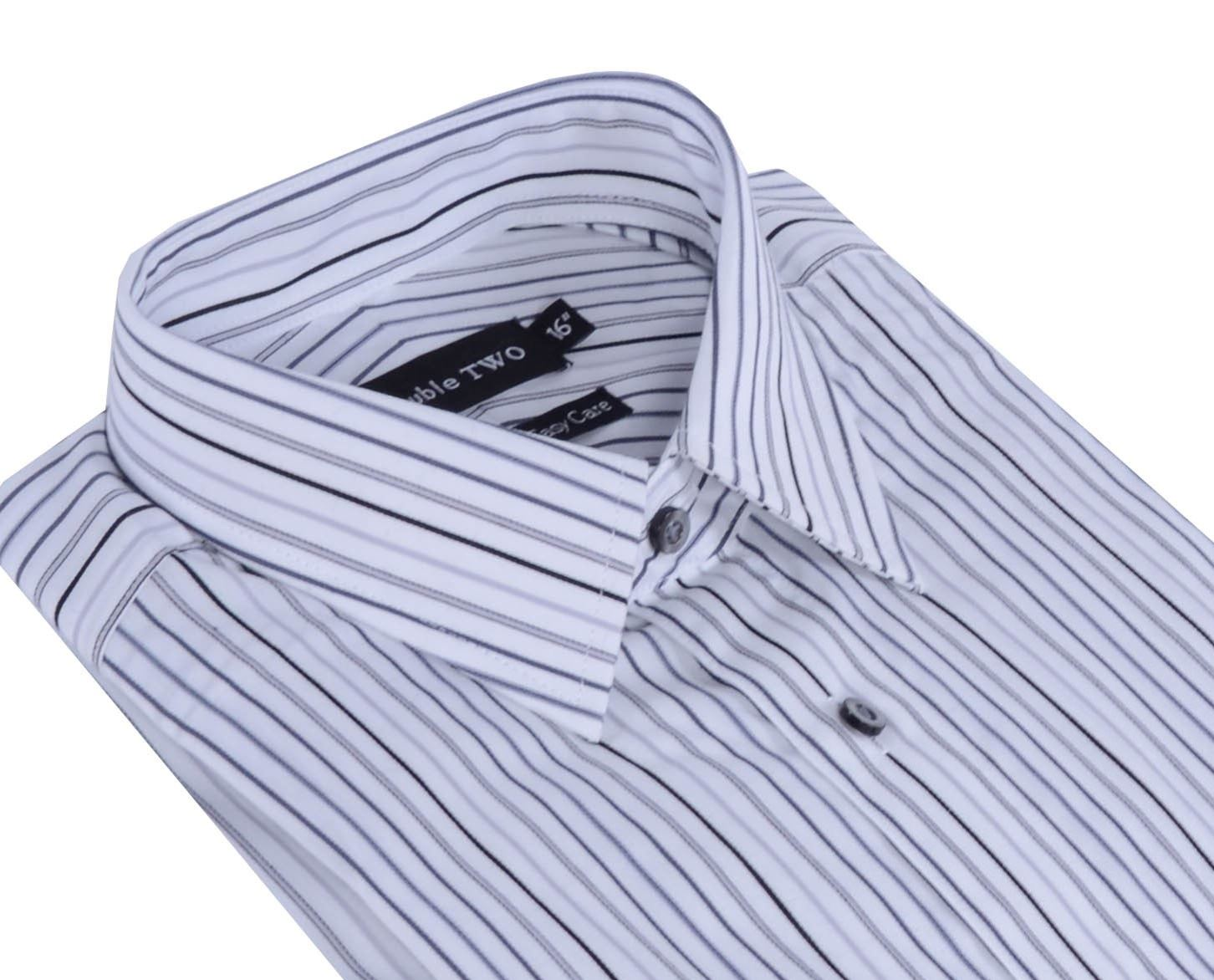 """DOUBLE TWO COTTON EASY CARE BOLD STRIPE FORMAL SHIRTS,COLLAR 18-23/"""",2 OPTIONS"""