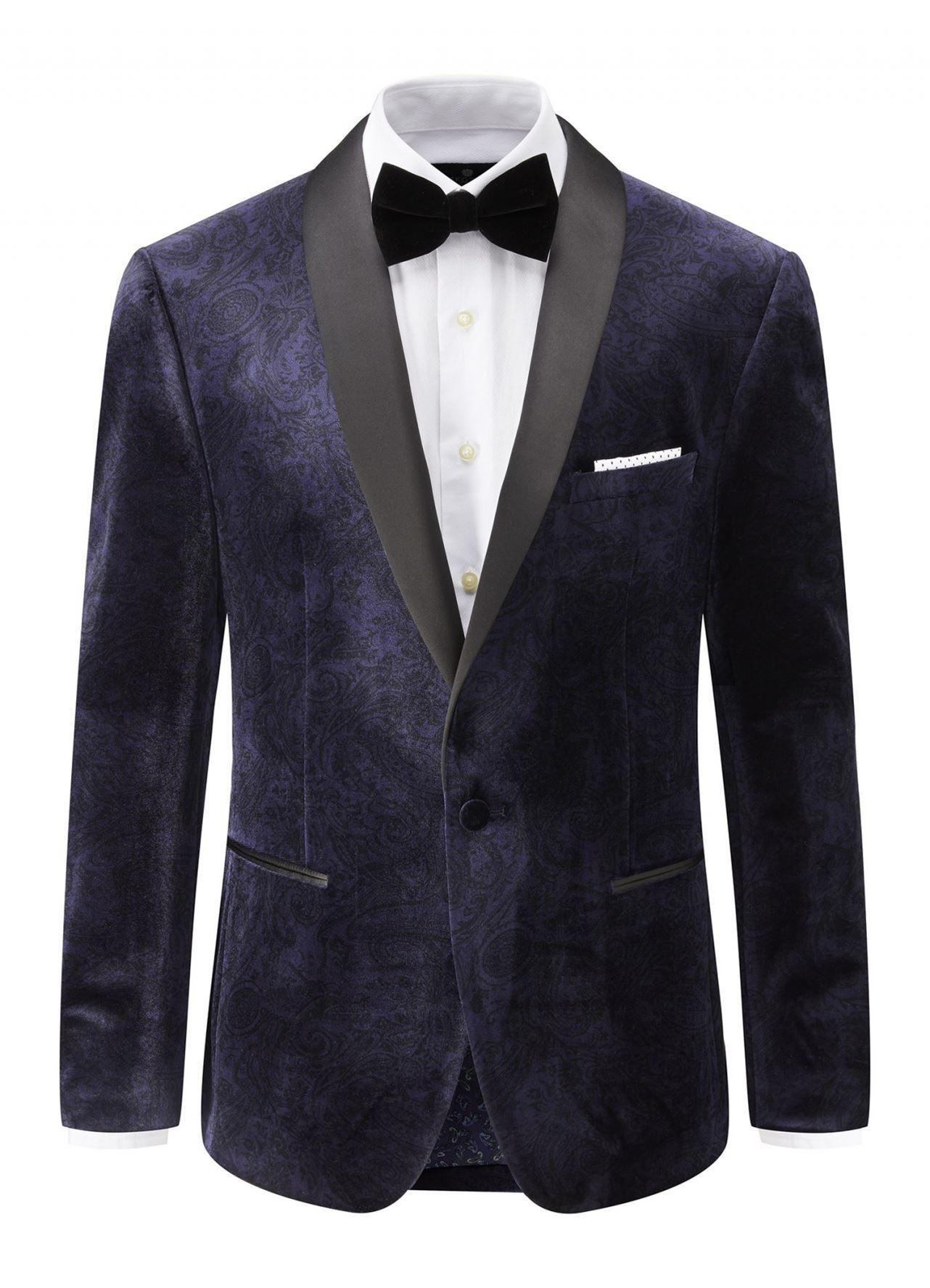 SKOPES Mens Classic Fit Garrix Navy Velvet Jacket With Shawl Collar