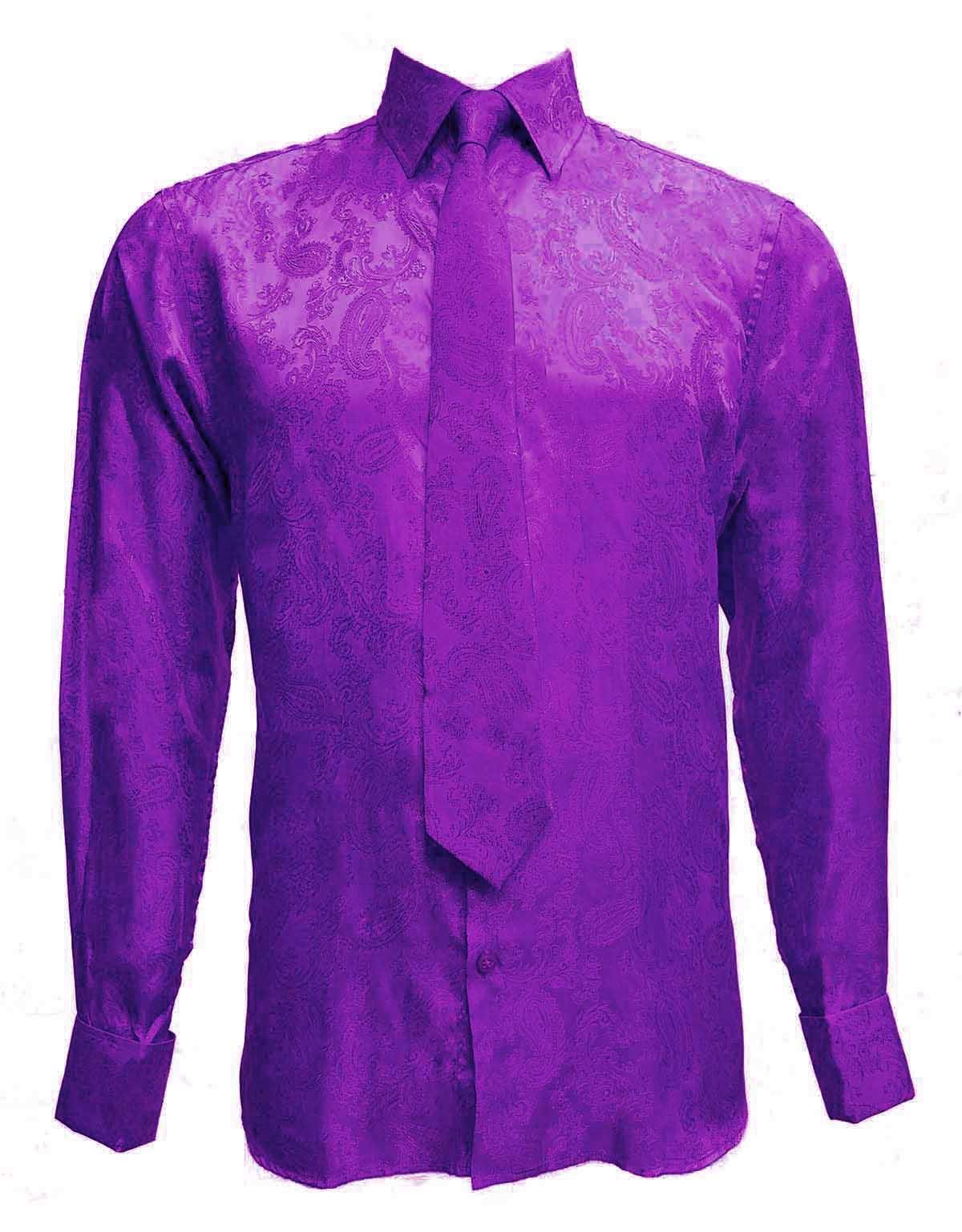 Men/'s satin paisley métallique design chemise avec assorti cravate-crème//or
