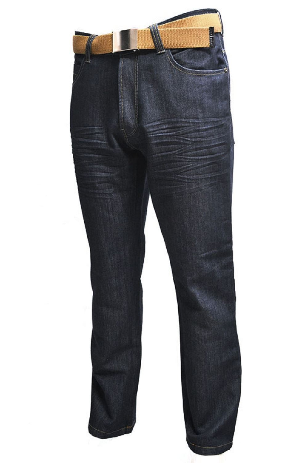 Mens-Classic-Fit-Black-Indigo-Jeans-Kori-By-Creon-Previs thumbnail 9
