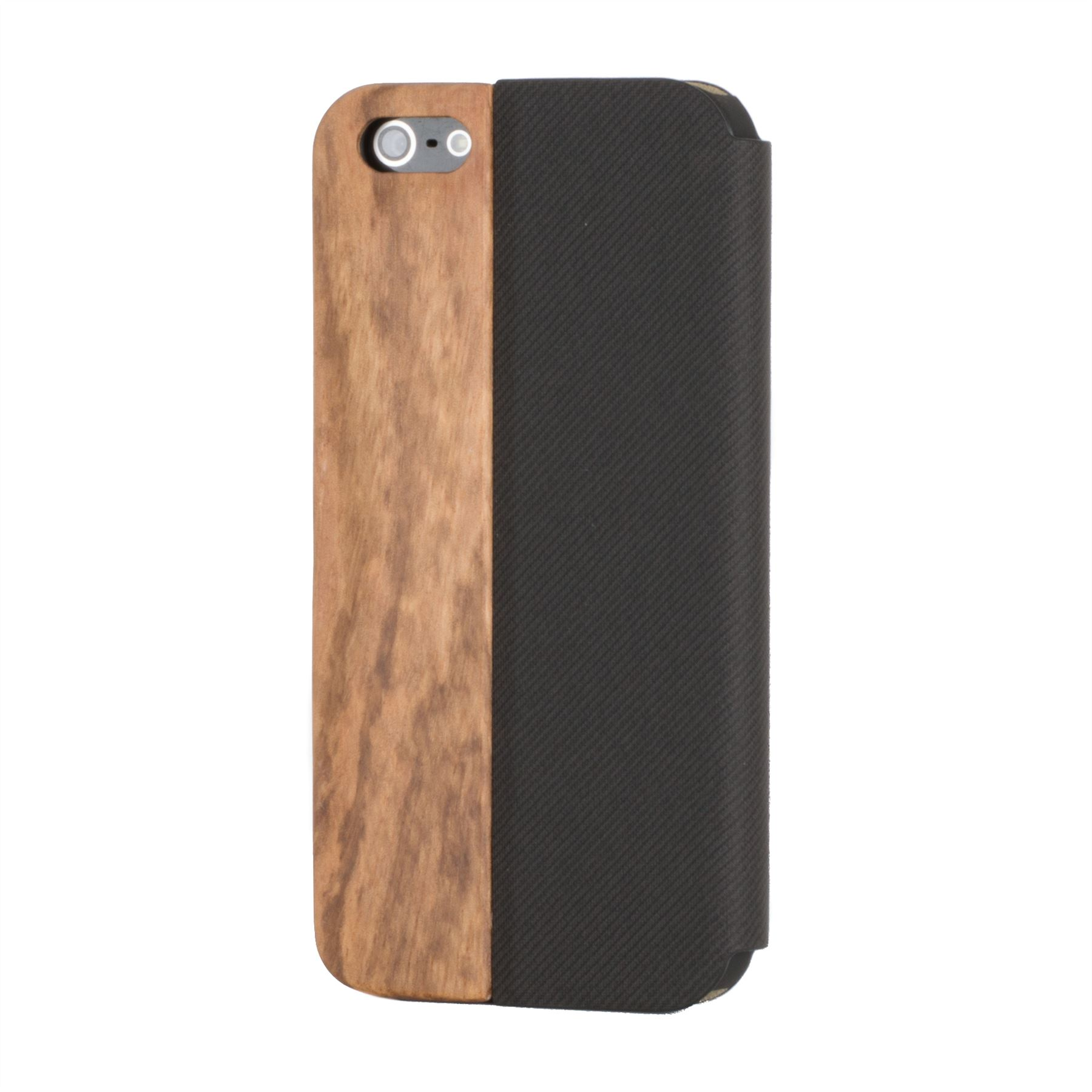 wood iphone 5 case snakehive 174 real wood amp leather wallet flip cover for 6486