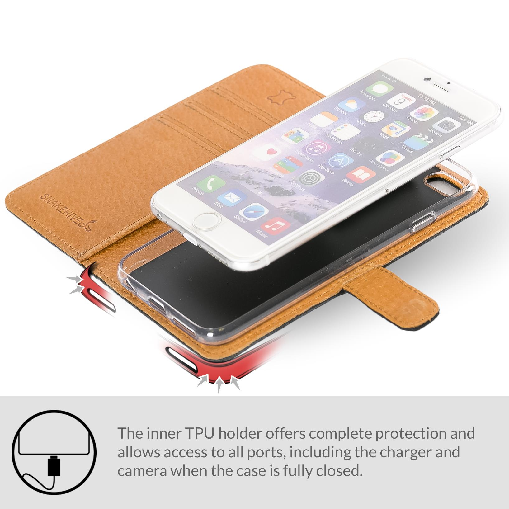 best sneakers de154 62a3e Details about Snakehive Apple iPhone 6/6S Premium Genuine Leather Wallet  Case w/ Card Slots