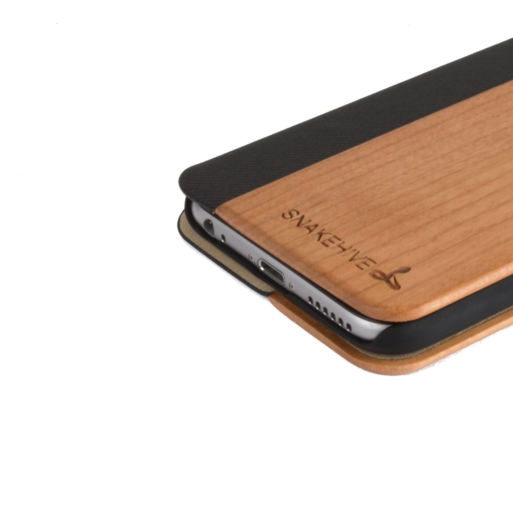 info for 7b49e 18371 Details about Snakehive® Apple iPhone 6/6s Natural Wood & Leather Phone  Folio Wallet Case