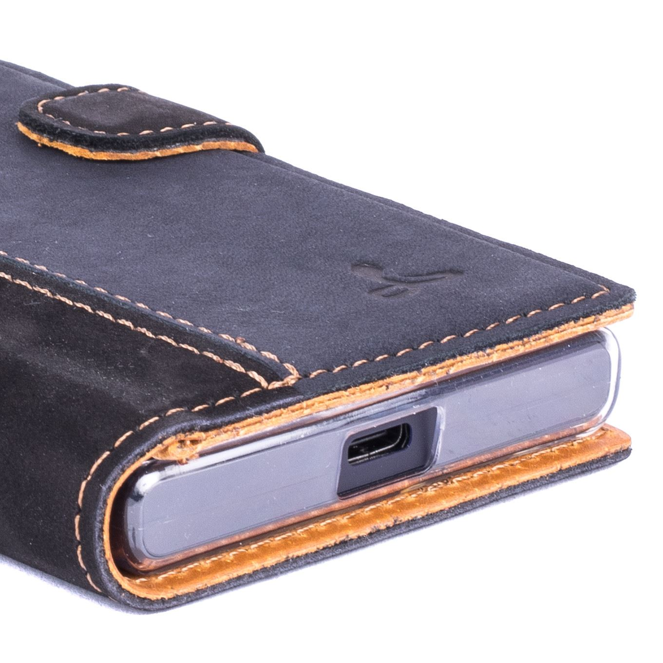 reputable site 1702c 91f9a Details about SNAKEHIVE® Vintage Nubuck Leather Wallet Case Cover for Sony  Xperia X Compact