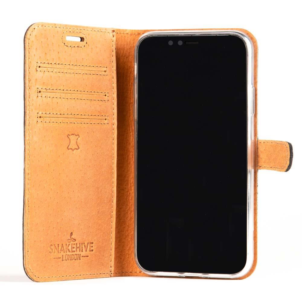 wholesale dealer c90dc 67e4f Details about Snakehive Apple iPhone XR Premium Genuine Leather Wallet Case  w/ Card Slots
