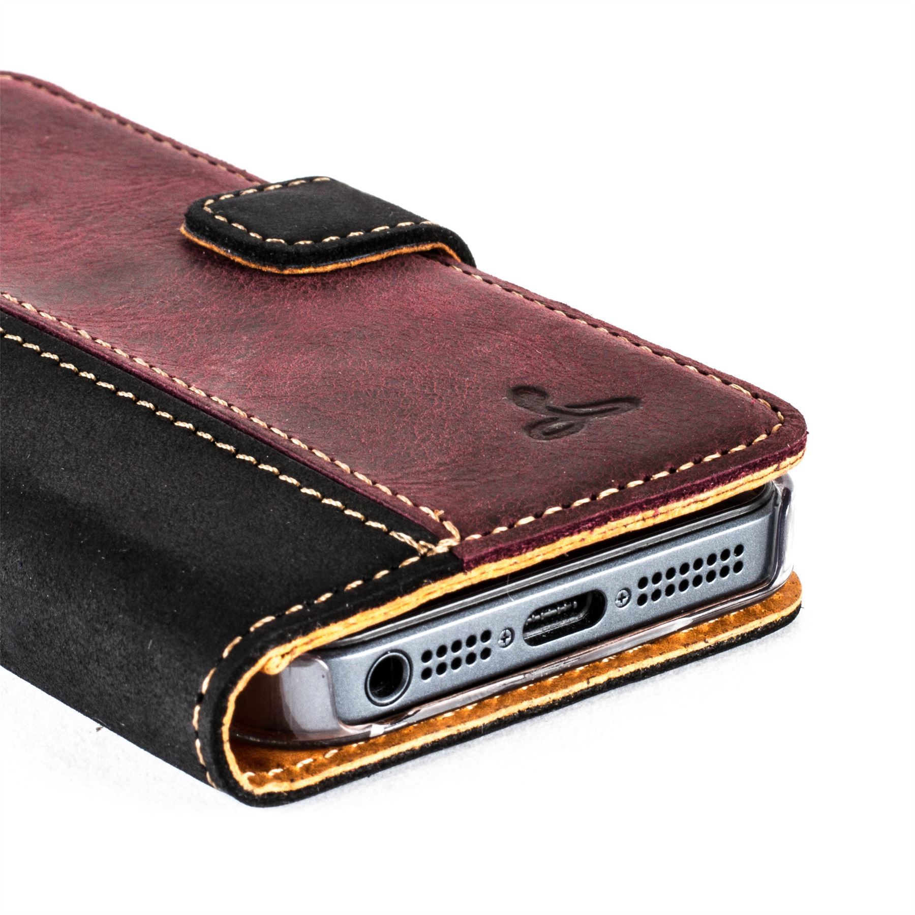 Snakehive apple iphone 5 5s vintage nubuck leather wallet case cover ebay - Iphone 5s leather case ...