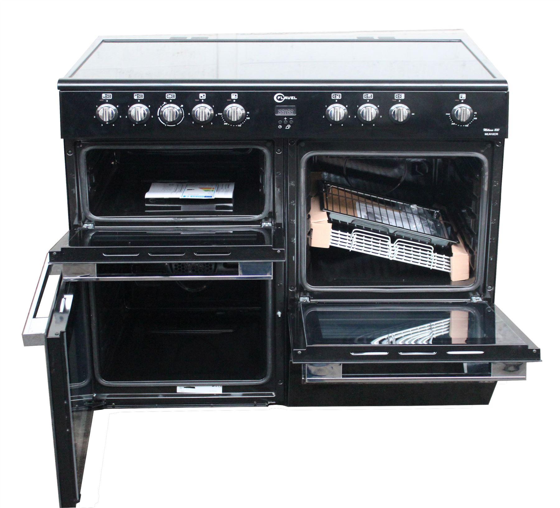 Double Double 100cm : Flavel mln crk cm electric ceramic range cooker double