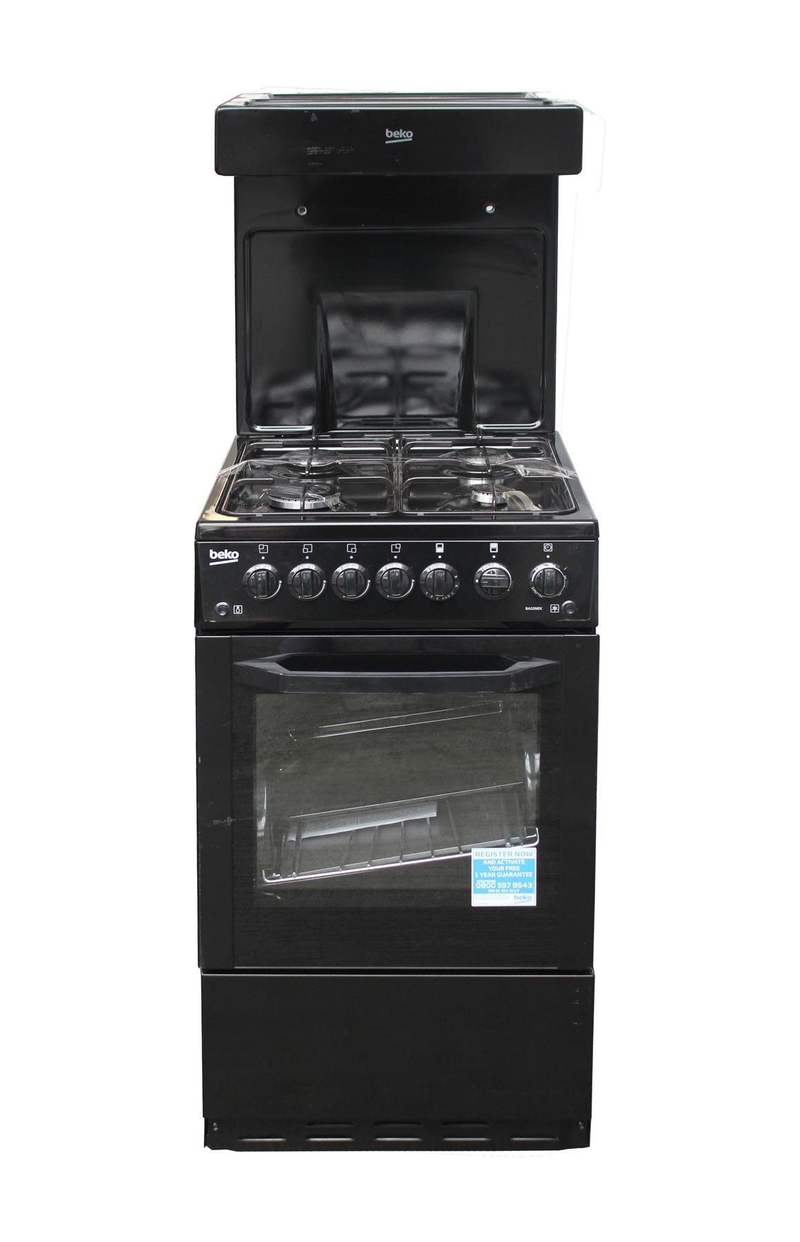 beko 50cm gas cooker eye level grill freestanding black. Black Bedroom Furniture Sets. Home Design Ideas