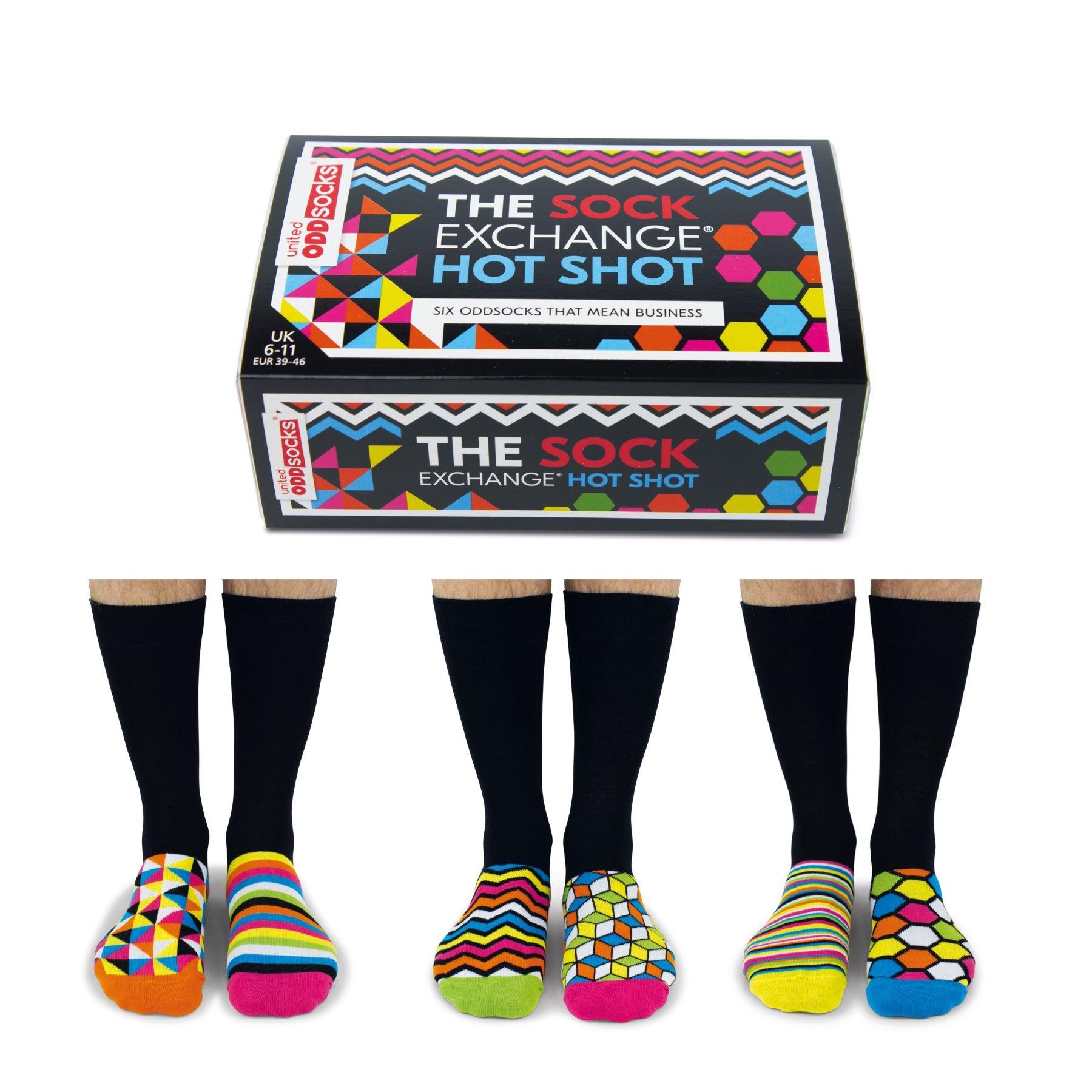 United Oddsocks Spot on Mix Set of 6 Vibrant Spotty Mismatched UK 6-11 Men Socks