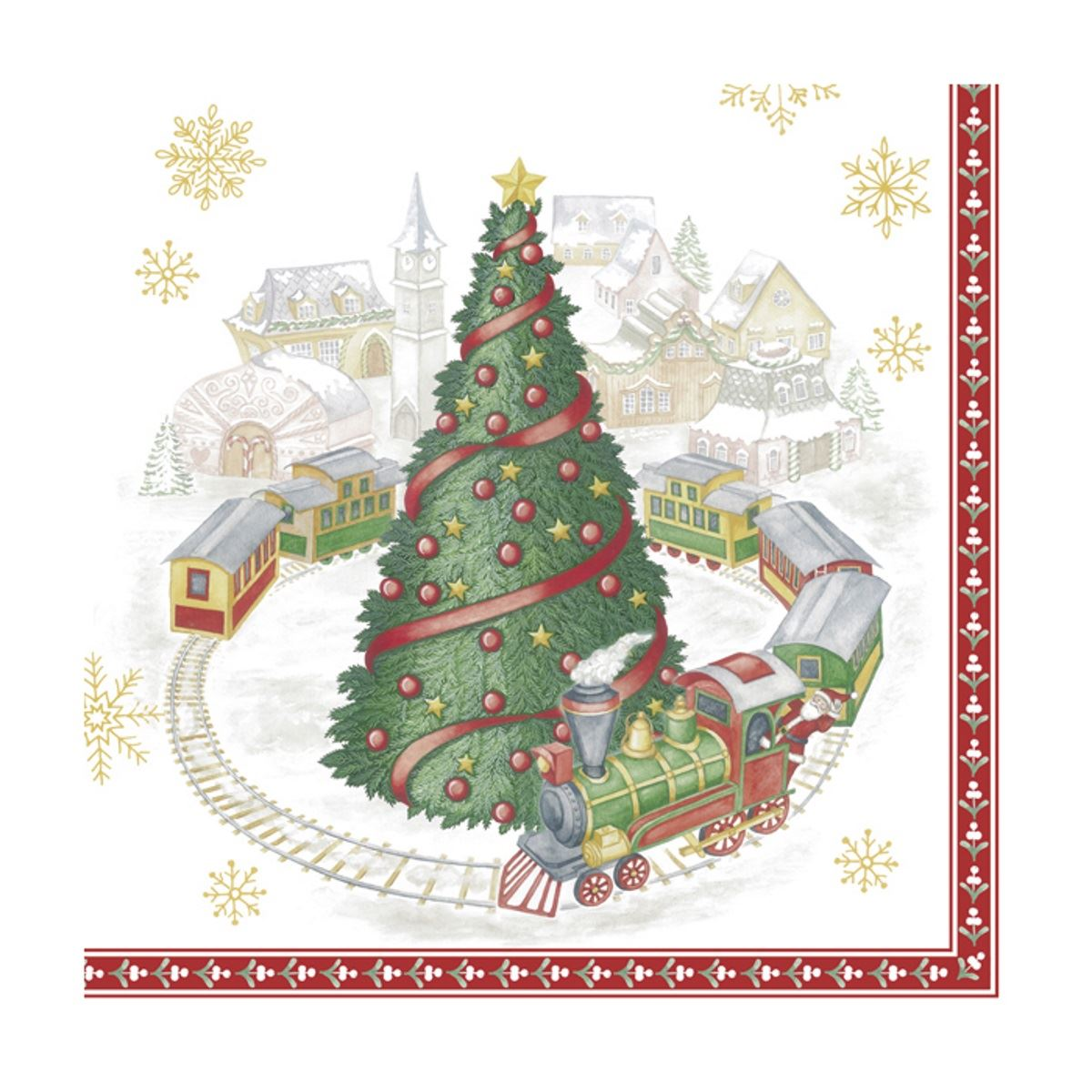 Christmas Napkins.Details About Paper Christmas Napkins Xmas Train In Town Disposable Luncheon Party Serviettes