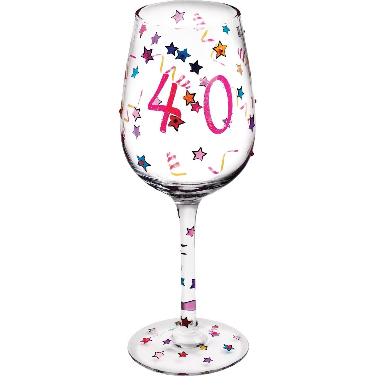 Details About Stars Glitter 40th Birthday Wine Glass Hand Painted Gift Box For Her Women