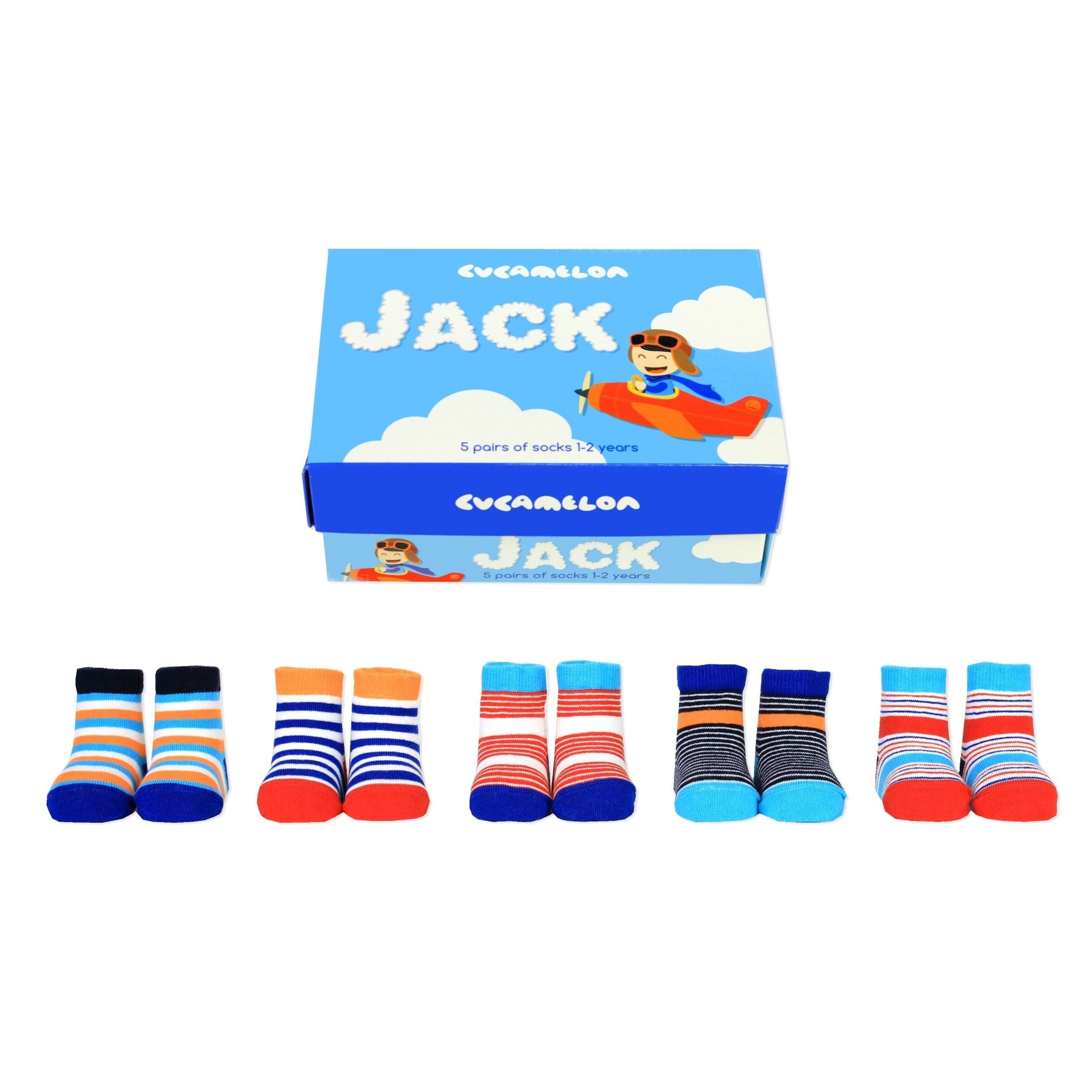 Details about Cucamelon Jack the Pilot 5 Pairs of Striped Socks 1-2 Years  Toddler Gift Boxed