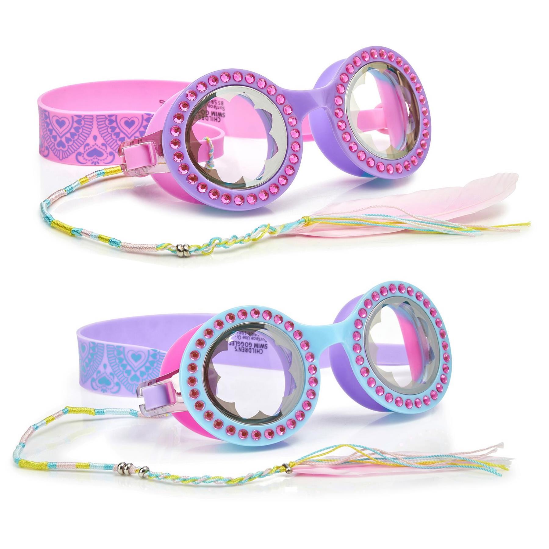 Bling2O Girls Swimming Goggles /& Case Bohemian Kids Purple Blue UV Swim 6y+