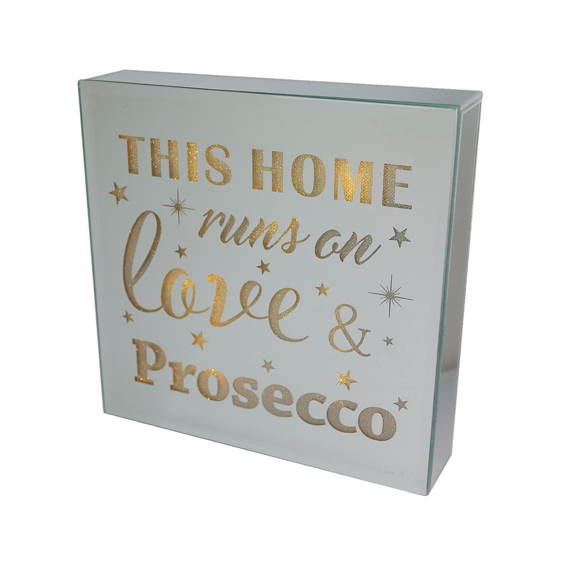 Details about Love & Prosecco Light Up Glass Mirror Block Wall Decoration  Home Decor Gift Idea