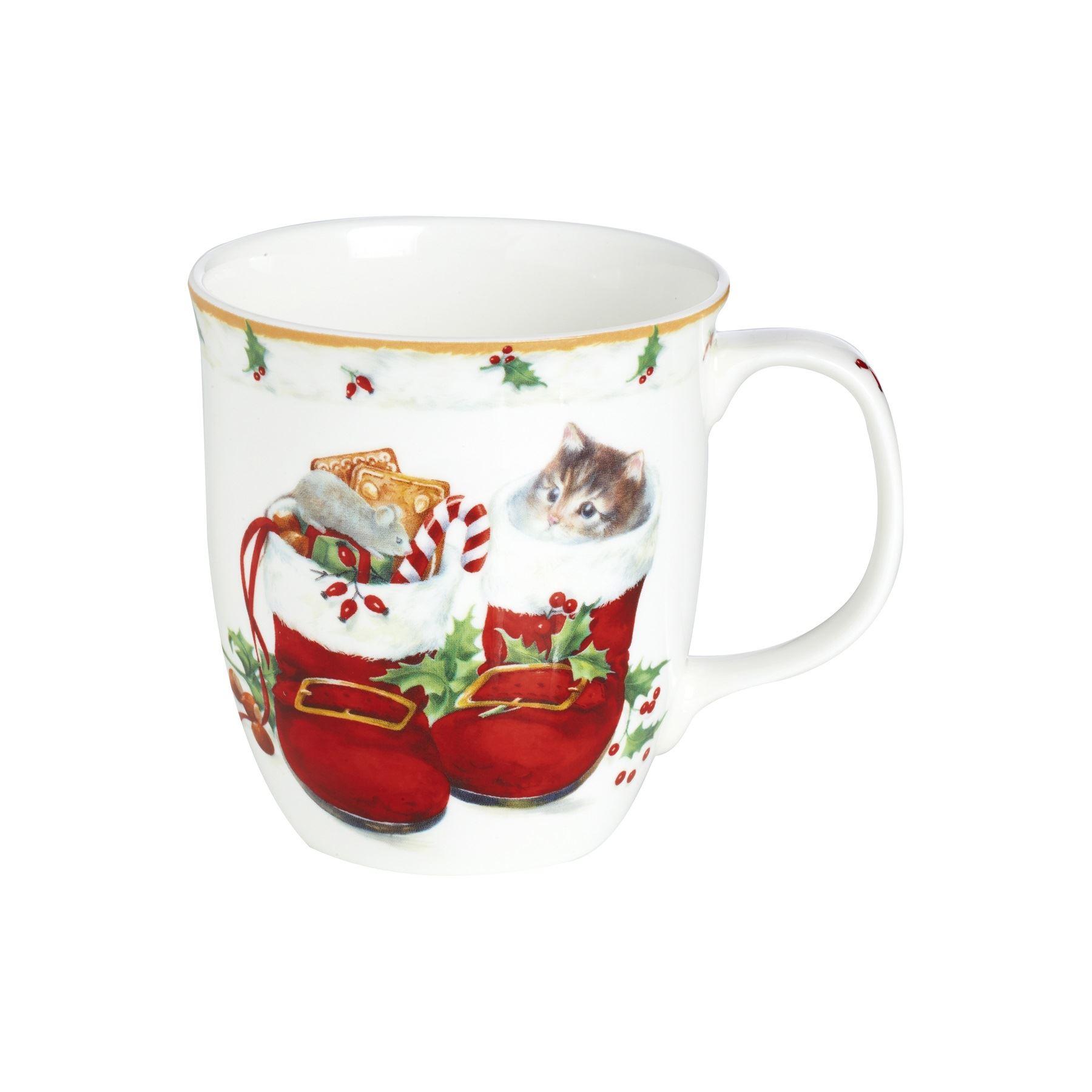 IHR Sweet Christmas Boots Cat Holly Bone China Festive Coffee Mug ...