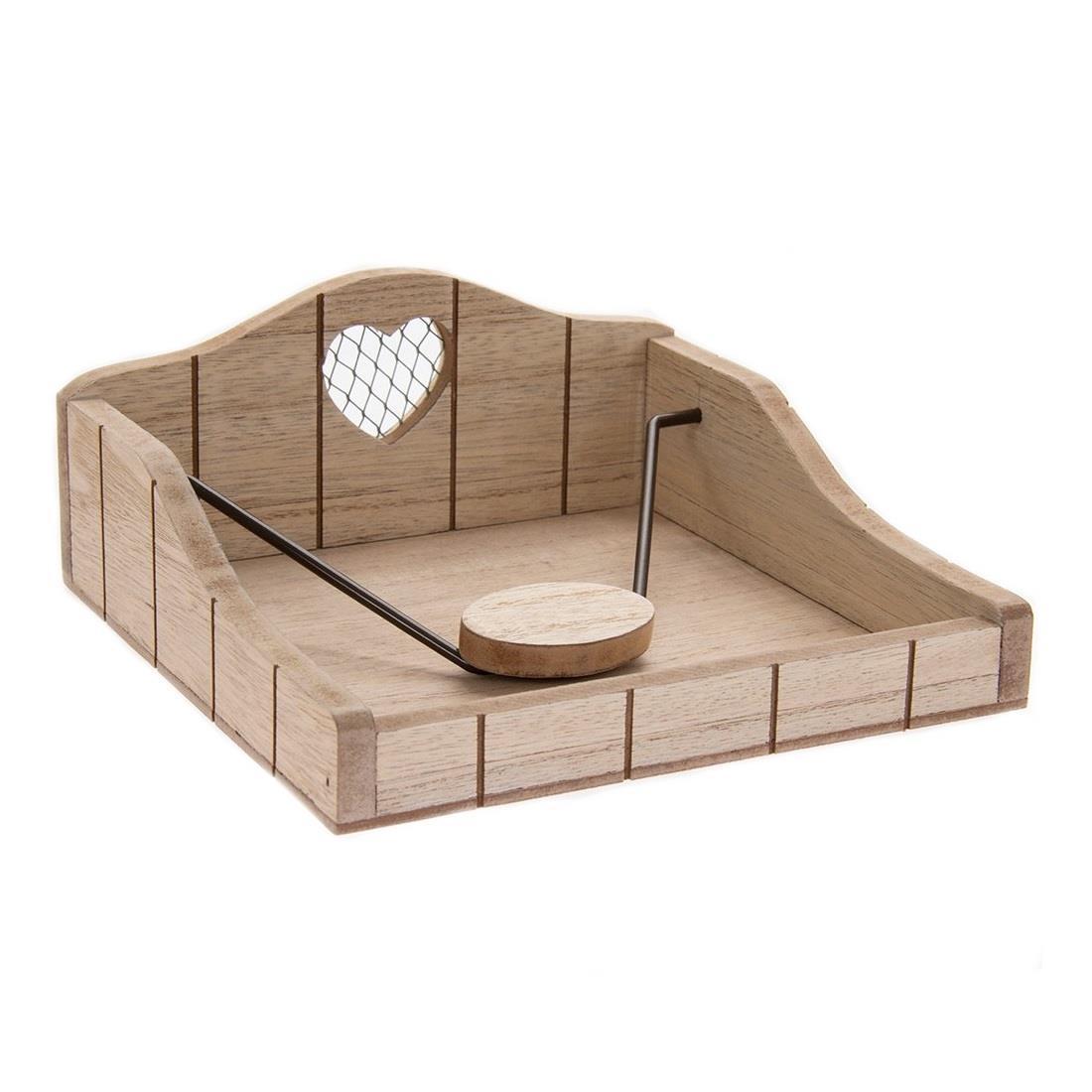 Wooden Rustic Heart Napkin Holder Kitchen Outdoor Dining Serviette Dispenser Ebay