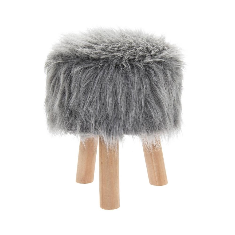 Awe Inspiring Details About Round Furry Grey Stool Fluffy Bedroom Vanity Lounge Foot Rest Home Furniture Evergreenethics Interior Chair Design Evergreenethicsorg