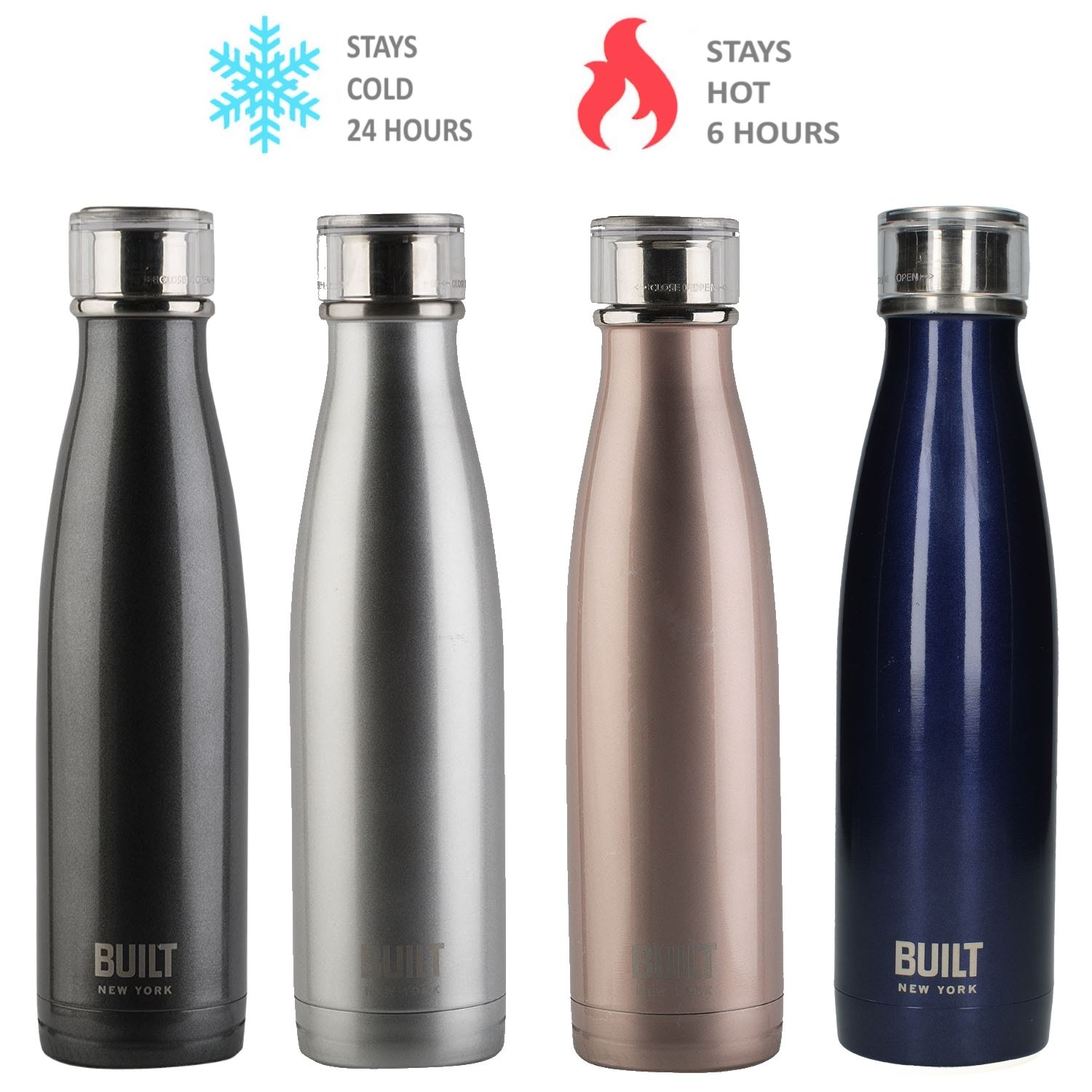 1c272a85cf Details about Stainless Steal Flask Vacuum Insulated Double Walled Thermal  Cold Water Bottle