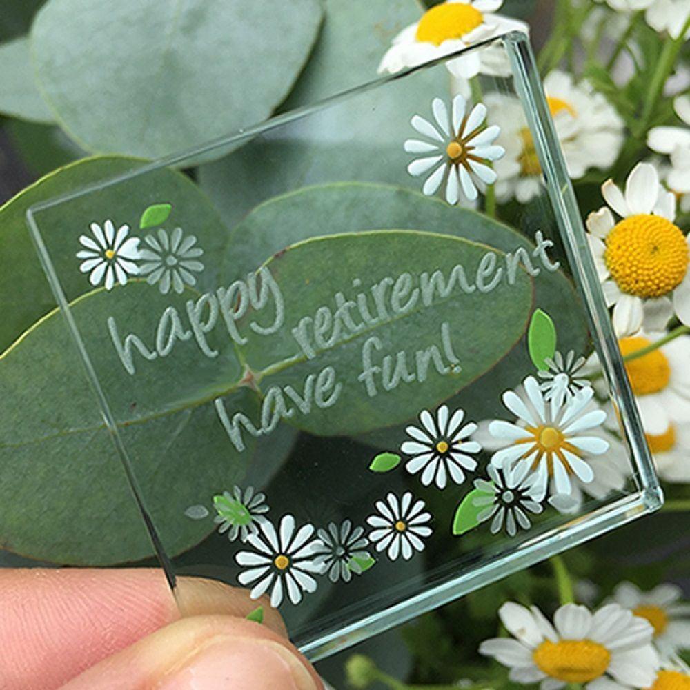 Spaceform Miniature Glass Token Daisies Lots Of Love Christening Keepsake Gift