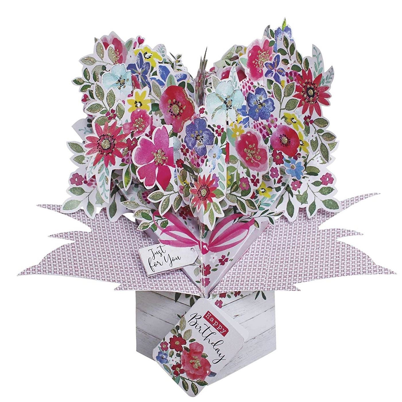 Details about 8D Pop Up Card Happy Birthday Flowers Bouquet Mum Blank  Greeting Cards For Her