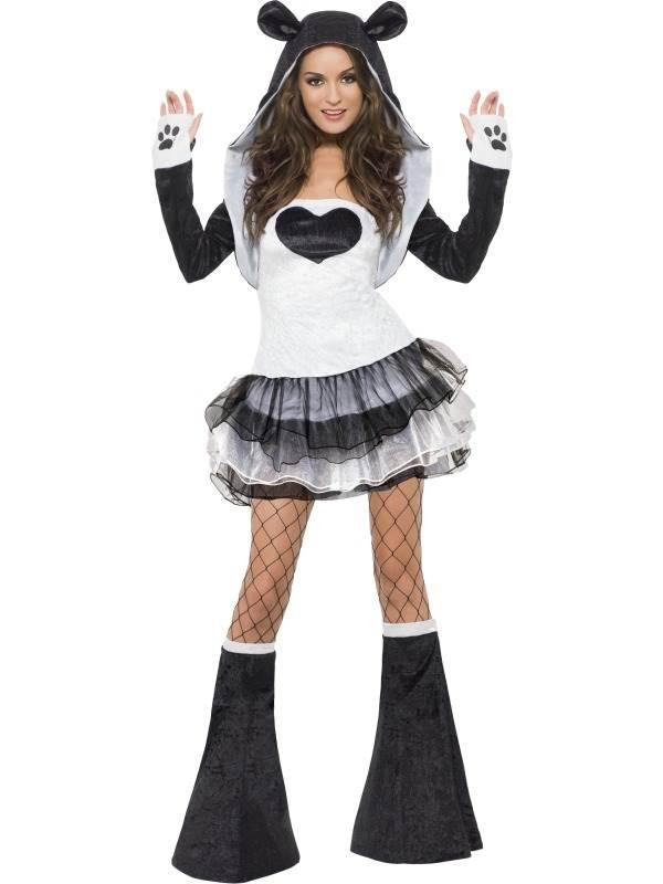 LADIES PANDA COSTUME SEXY ZOO PARTY ANIMAL BLACK WHITE BEAR FANCY ...
