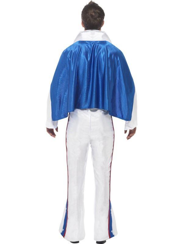 Evel Knievel Uomo Stunt Devil Costume Halloween Fancy Dress Vestito Male Cape
