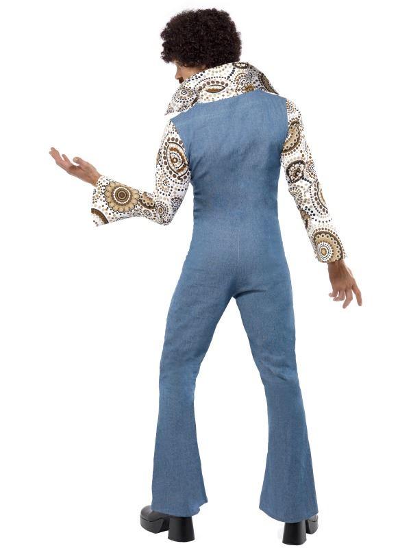 7a67b31095a4 MENS GROOVY DANCER COSTUME JUMPSUIT 60s 70s RETRO DISCO HIPPY FANCY ...
