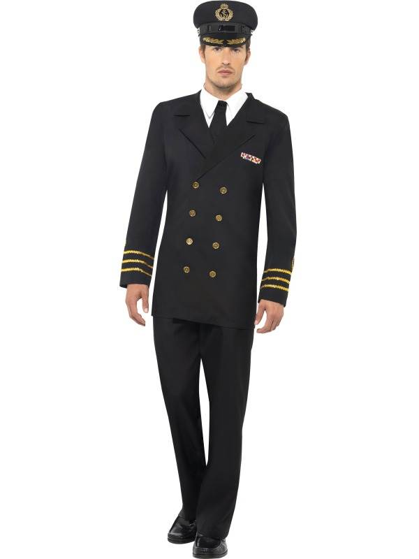 MENS-NAVY-OFFICER-MALE-FANCY-DRESS-COSTUME-MILITARY-  sc 1 st  eBay & MENS NAVY OFFICER MALE FANCY DRESS COSTUME MILITARY ARMY SEA CAPTAIN ...