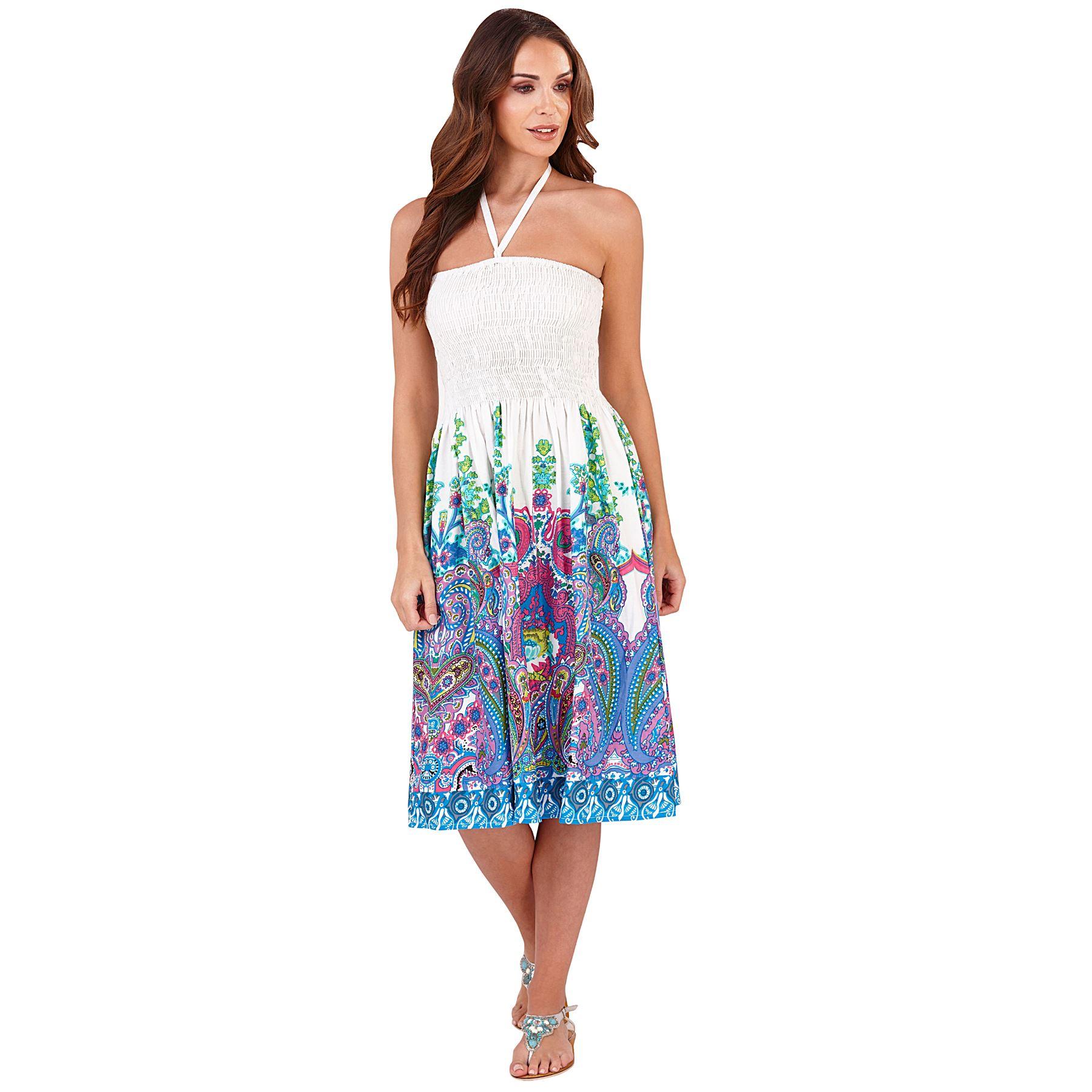 La s Summer Beach Cotton 3 in 1 Bandeau Strapless Sun Dress Skirt
