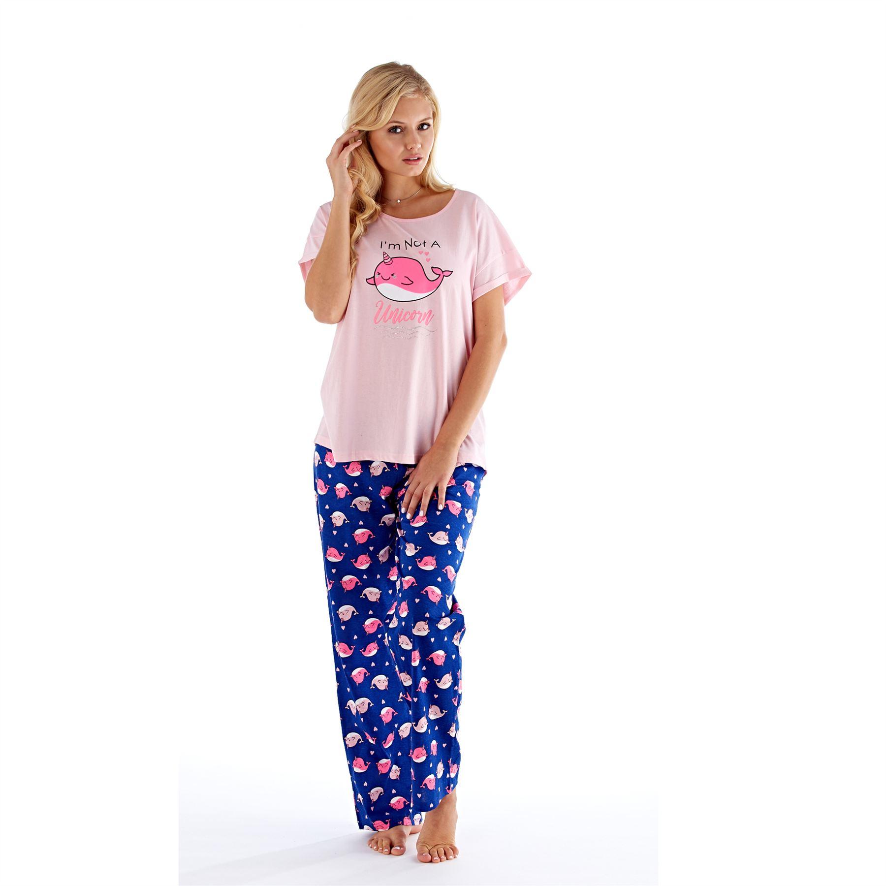 Womens-Ladies-Cotton-Pyjamas-Pyjama-PJs-Summer-Nightwear-Set-Size-8-18-NEW thumbnail 25