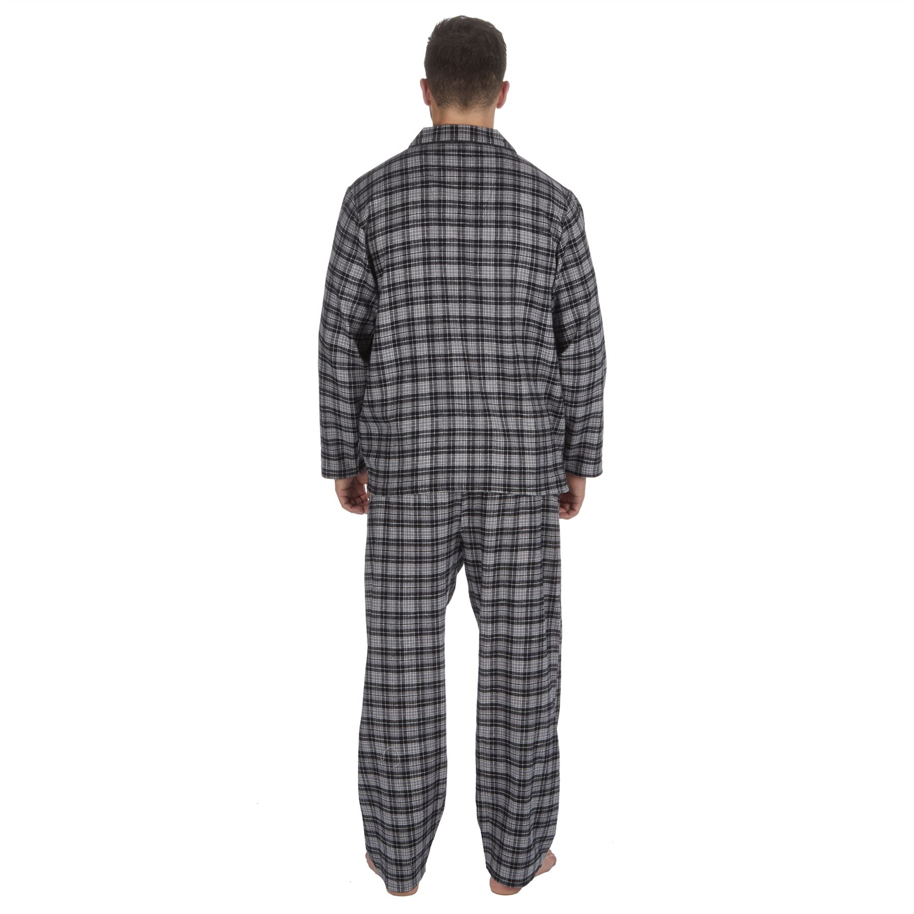 thumbnail 6 - Mens-Boys-100-Cotton-Flannel-Long-Sleeved-Pyjamas-Pyjama-Set-Check-Size-M-XXL