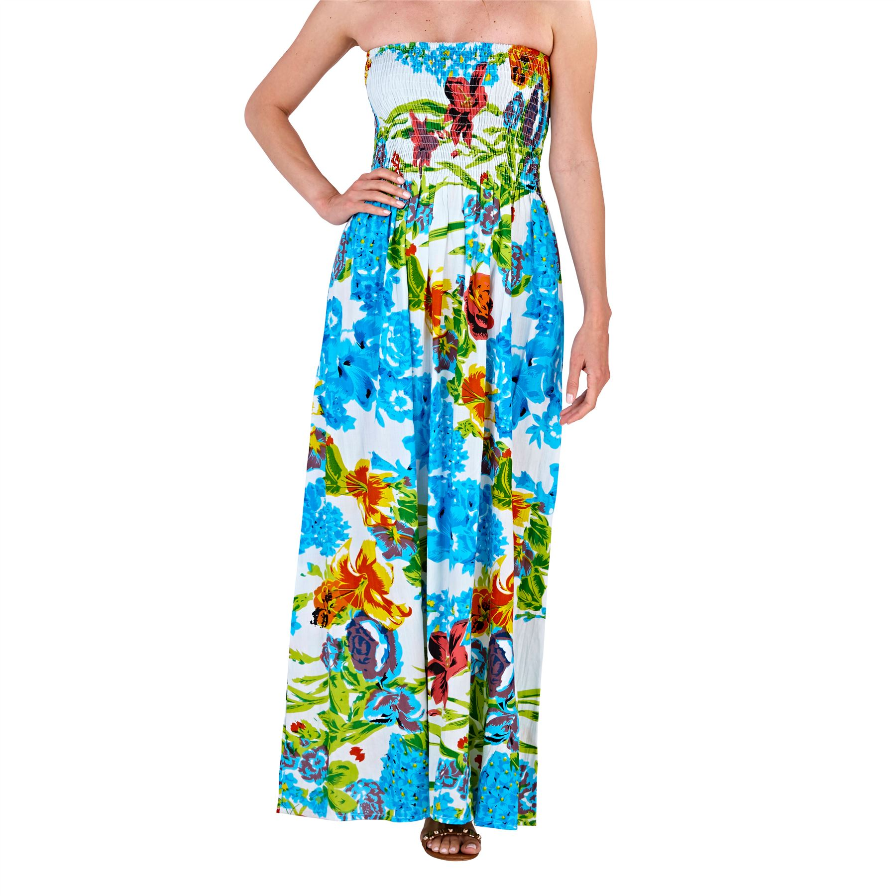 Ladies//Womens Summer Beach Sun Round Neck Maxi Dress Blue//Red Size 8-22 NEW