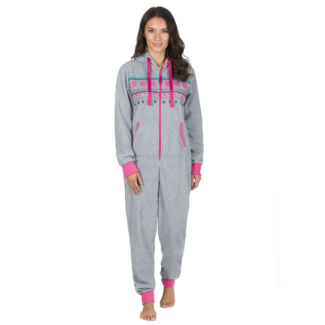 Ladies-Womens-Girls-Fleece-All-In-One-Pyjamas-Outfit-Jumpsuit-Costume-Size-6-18 thumbnail 42
