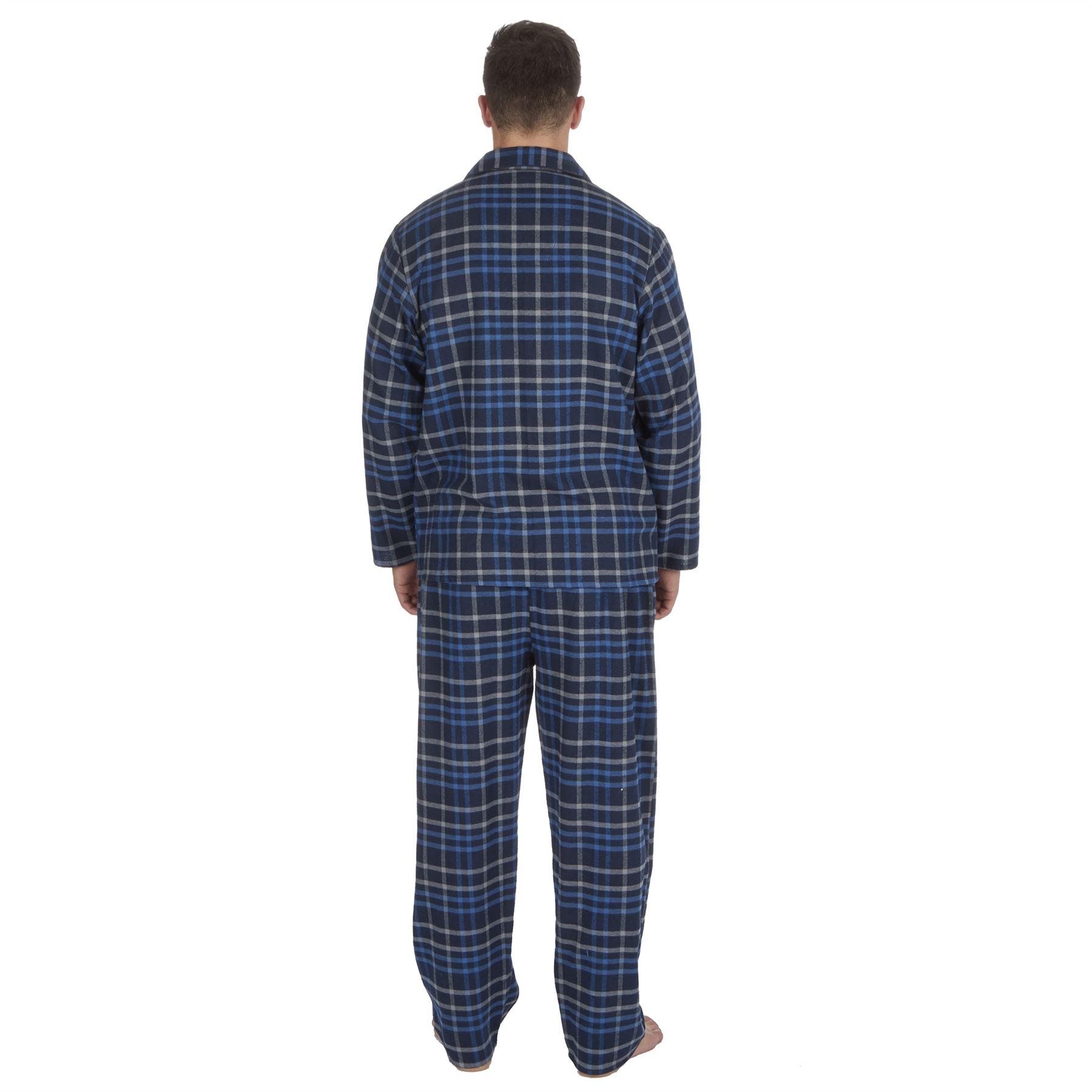 thumbnail 10 - Mens-Boys-100-Cotton-Flannel-Long-Sleeved-Pyjamas-Pyjama-Set-Check-Size-M-XXL