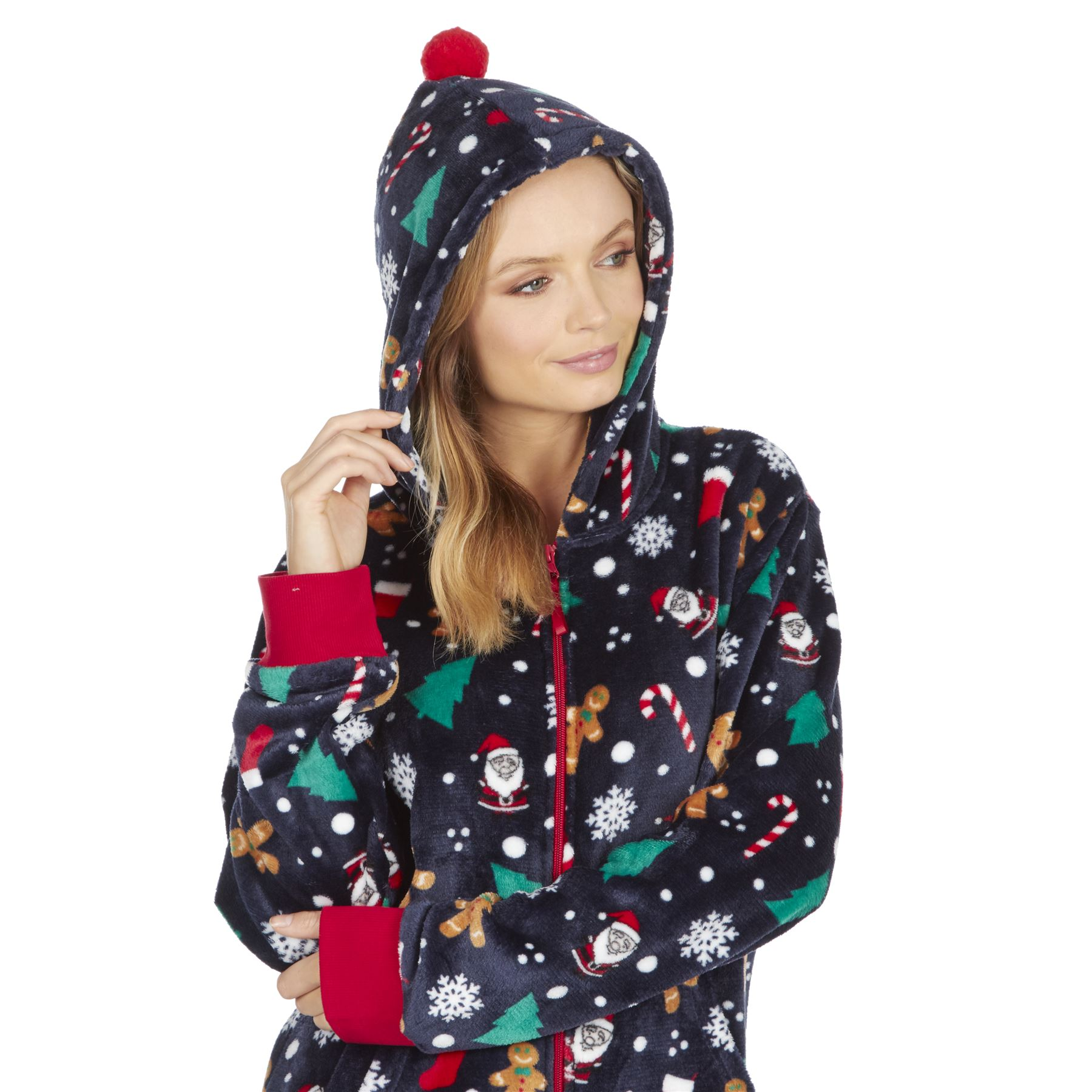 Ladies-Womens-Girls-Fleece-All-In-One-Pyjamas-Outfit-Jumpsuit-Costume-Size-6-18 thumbnail 60