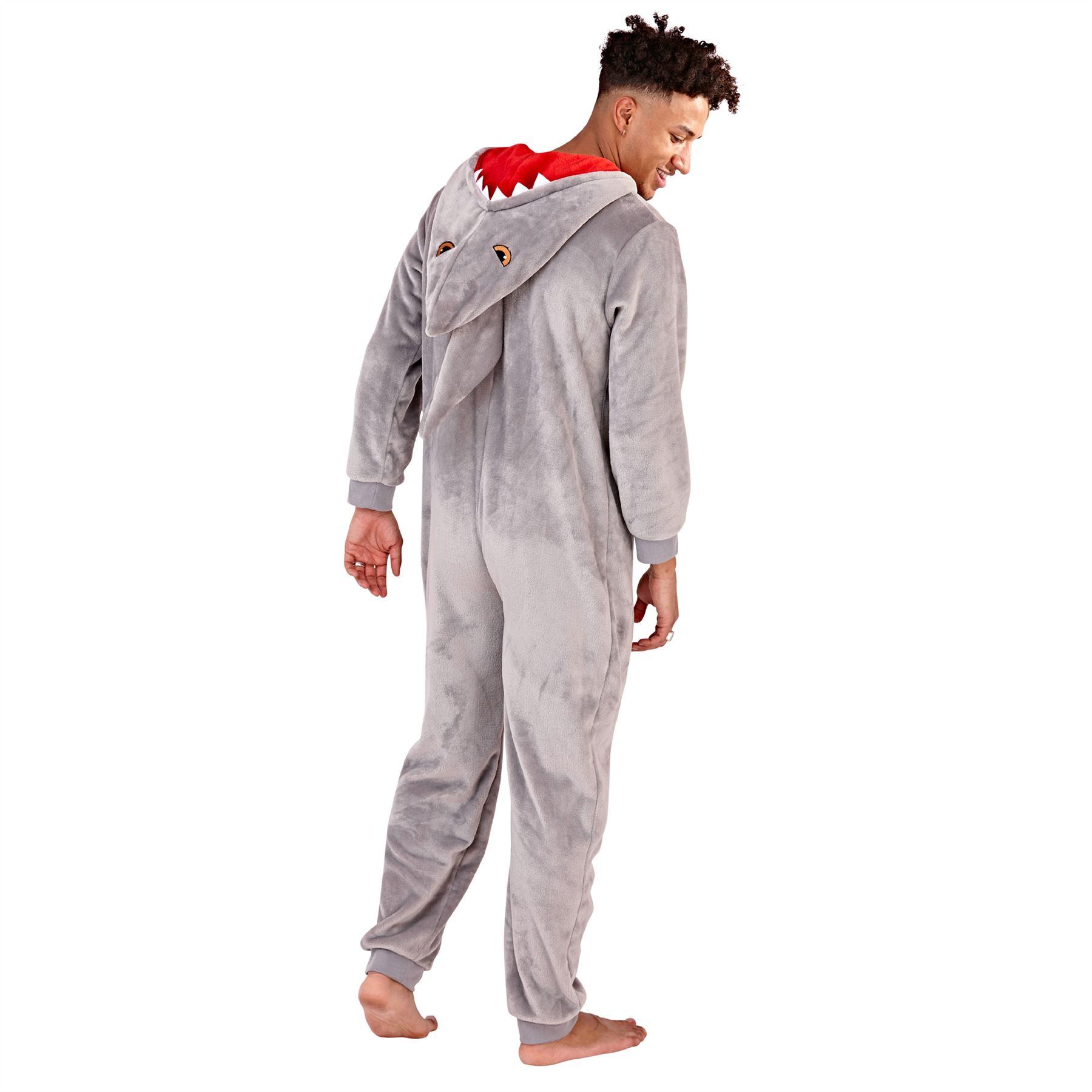 Mens Rhino Onesies All in One Boys Novelty Dress Up Hooded Fleece Zip Jumpsuit Sleepsuit