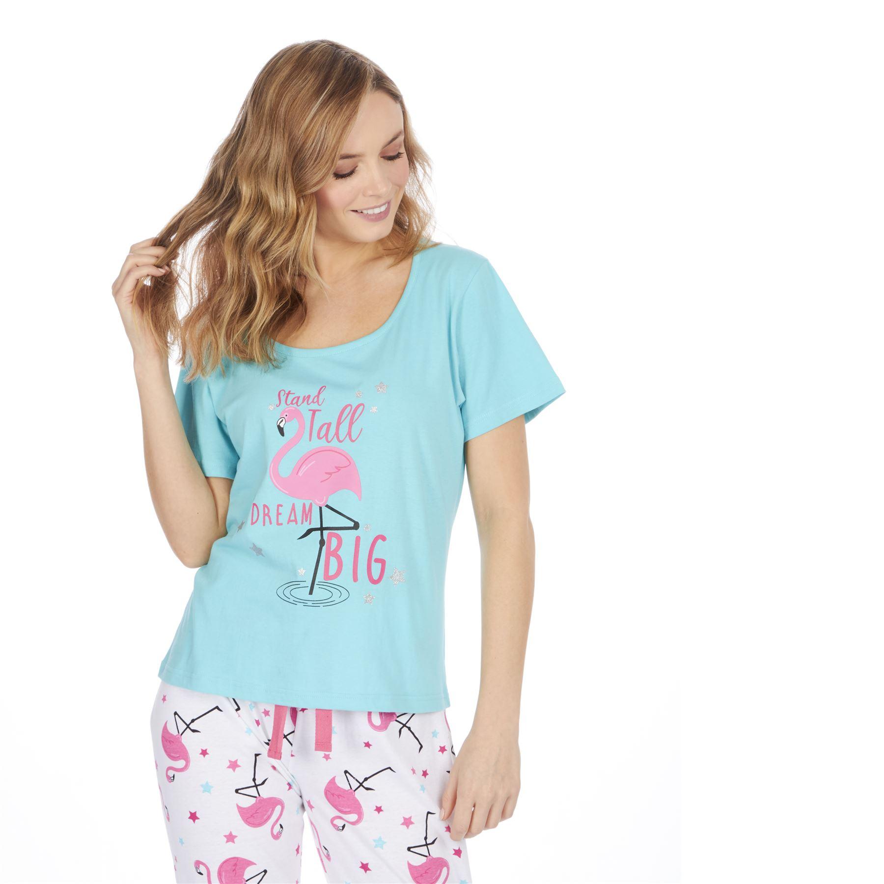 Womens-Ladies-Cotton-Pyjamas-Pyjama-PJs-Summer-Nightwear-Set-Size-8-18-NEW thumbnail 3